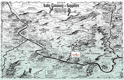 Lake Toxaway and Sapphire Lake Map