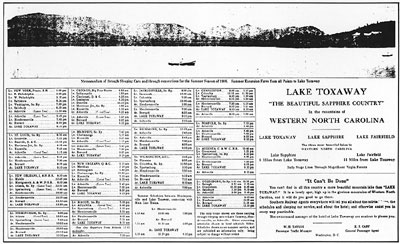 A railway schedule from Lake Toxaway's early boom years.